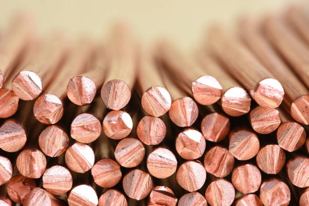 copper wire raw materials and metals industry and stock market - copper stock photos and pictures
