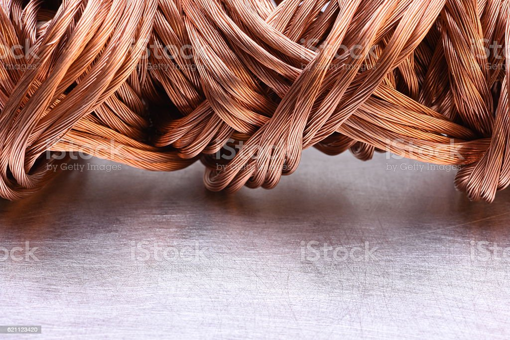 Copper wire raw materials and metals industry stock photo