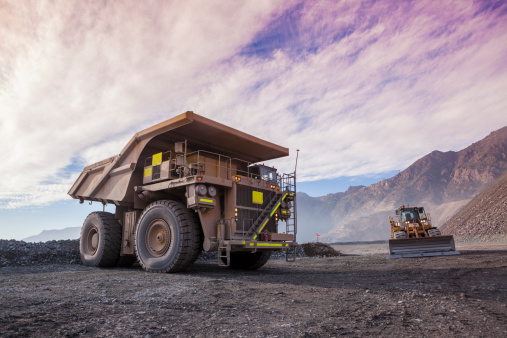 Haul truck in a Coppermine.