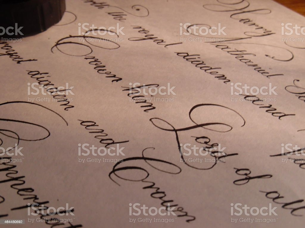 Copperplate Calligraphy stock photo