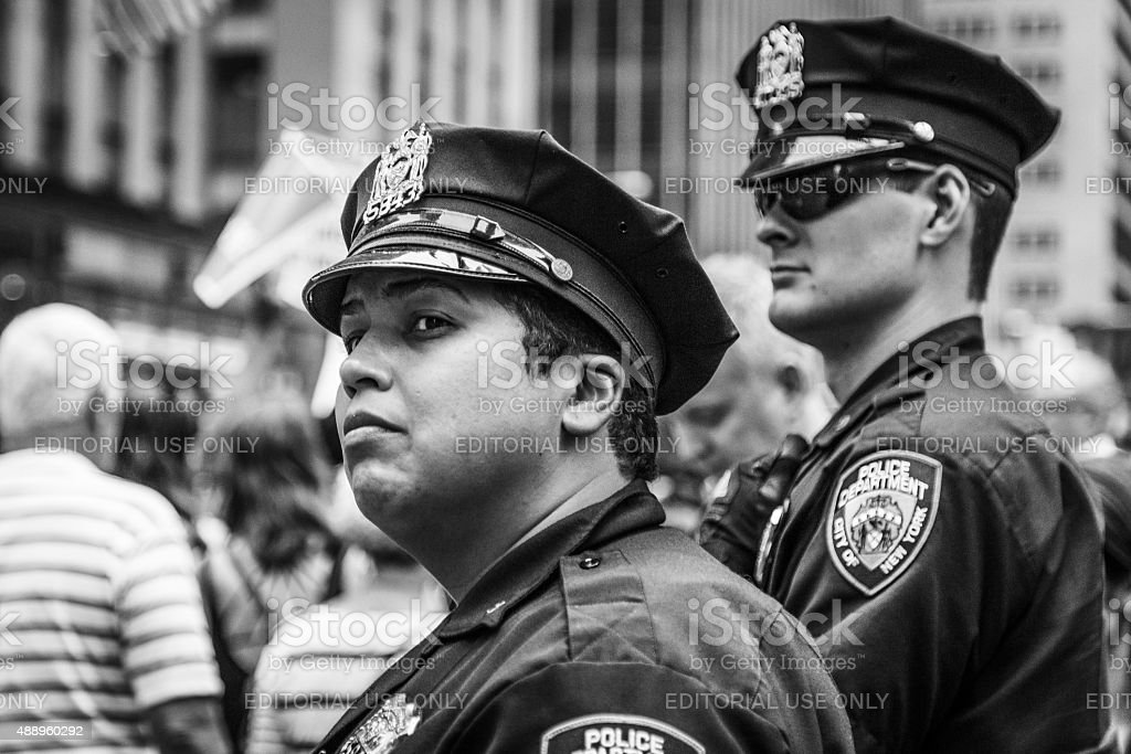 NYPD cops control the crowds at the Peoples Climate March stock photo