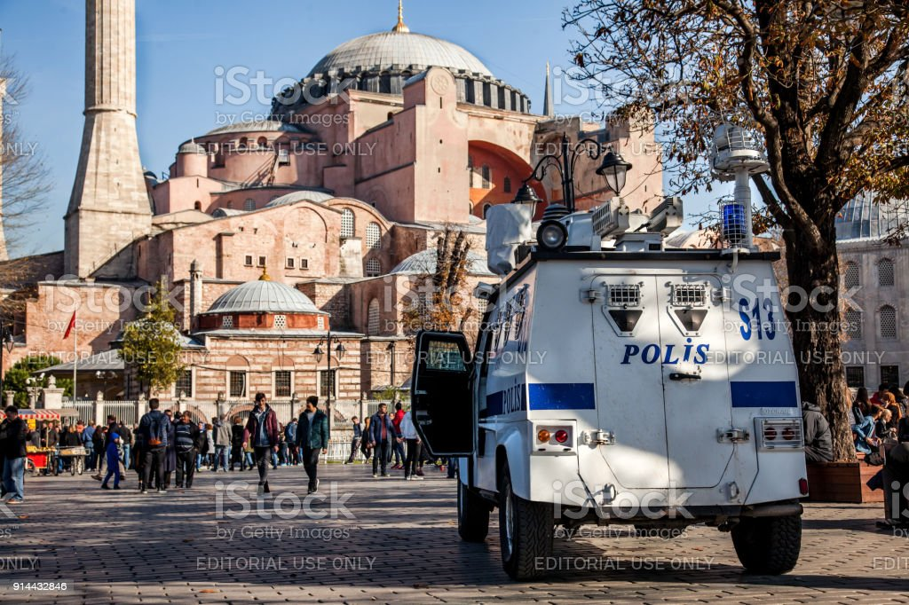 Cops provide security in front of Hagia Sophia in Sultanahmet district, Istanbul stock photo