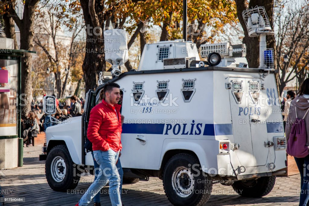 Cops provide security in Sultanahmet district, Istanbul in Turkey stock photo