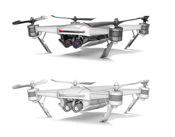 Copter with a white body and a stereo video camera. stock photo