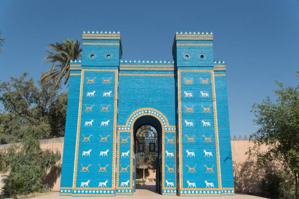 Copy of Ishtar gates in Babylon ruins , Iraq stock photo