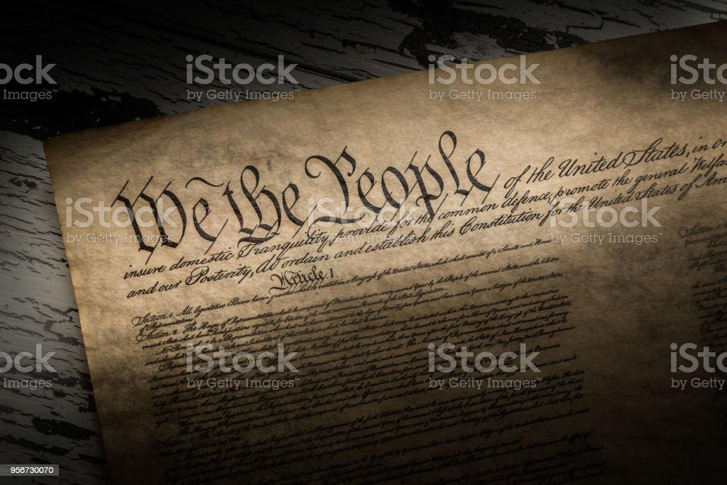 A copy of the constitution of the United States of America stock photo