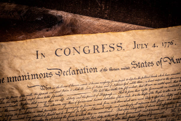 A copy of the declaration of Independence of the United States stock photo