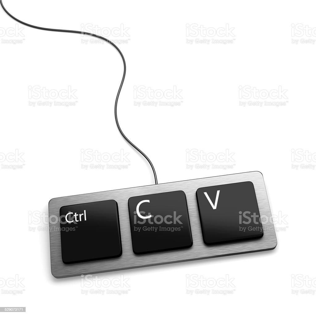 Copiar y pegar teclado (plagiarist tool) - foto de stock
