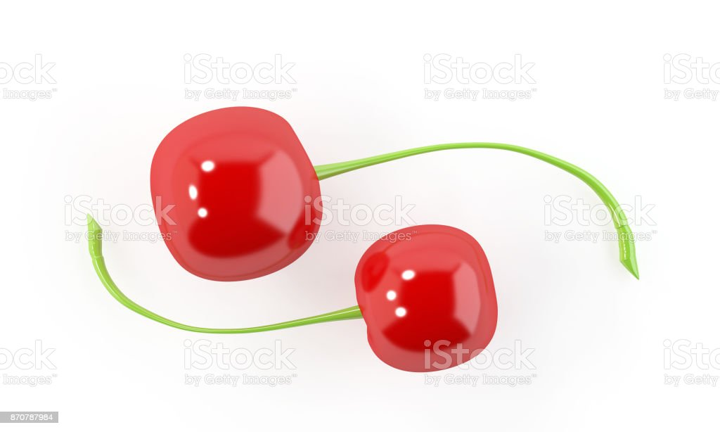 Copy space Cherry on White Background. stock photo