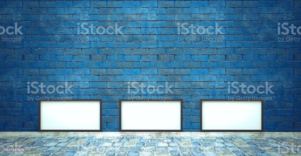 Copiar quadro espaço, banner na parede azul, com chão de pedra - luz de palco - foto de acervo