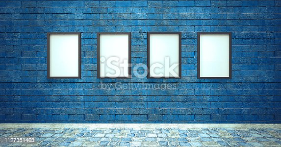Copy space frame, banner on blue brick wall with stone floor - Stage light