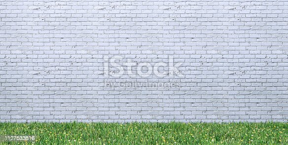 Copy space frame, banner on white brick wall with grass floor - Stage light