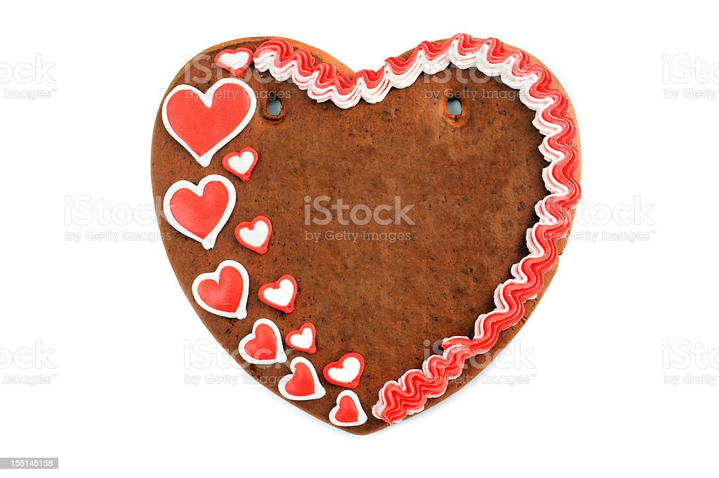 Copy space love heart valentines day gingerbread cookie stock photo