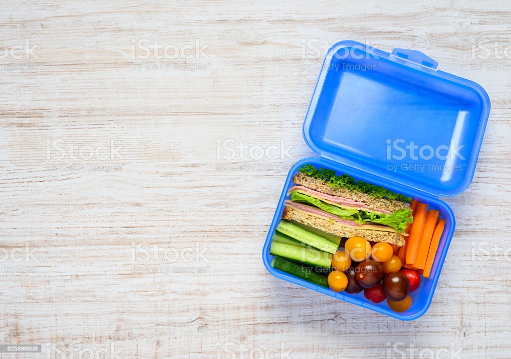 Copy Space of Blue Lunch Box with Food stock photo