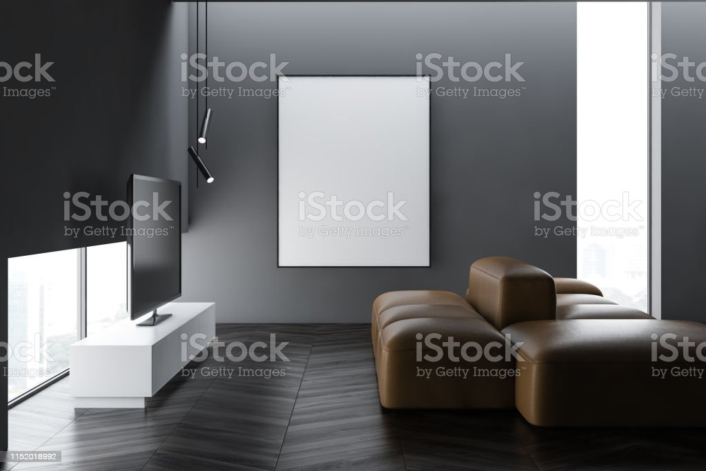 Copy space on grey concrete wall with poster and modern lovely living...
