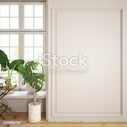 994217090 istock photo Copy Space on White Wooden Wall Paneling with Window and Plants 1203962287