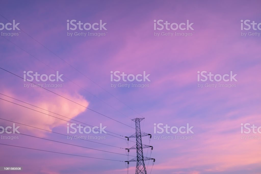 Copy space summer twilight sky and cloud with electric cable wire in city abstract background. stock photo