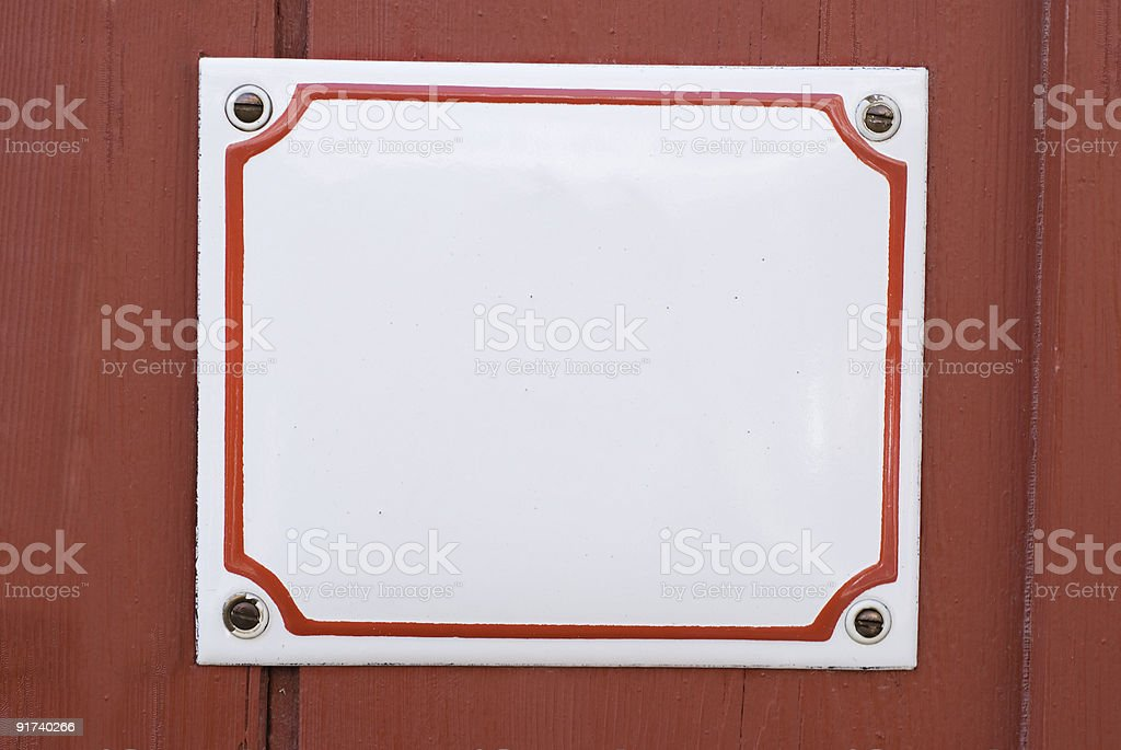 Copy Space – Traditional enamel square white sign stock photo