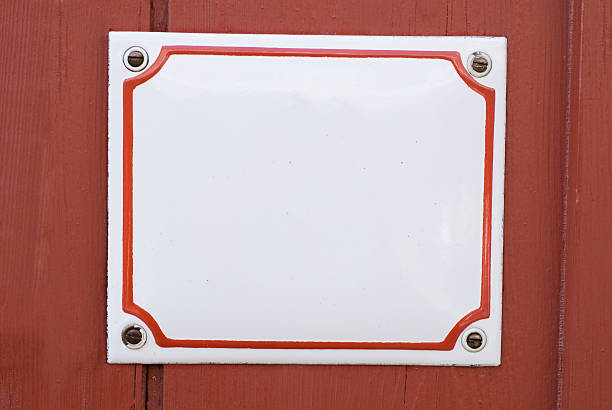 copy space – traditional enamel square white sign - enamel stock photos and pictures