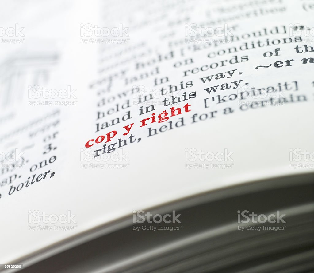 Copyright colored in a dictionary royalty-free stock photo
