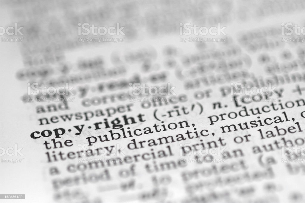 copyright dictionary definition stock photo