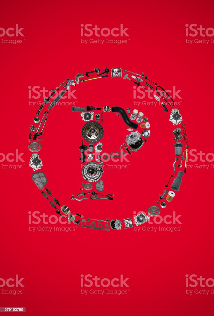 Copyright icone with auto parts for car stock photo
