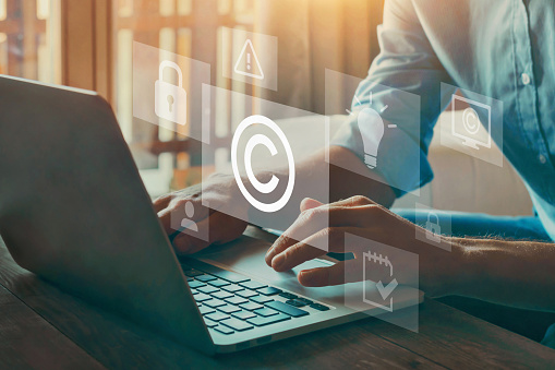 copyright or patent concept on virtual screen, intellectual property