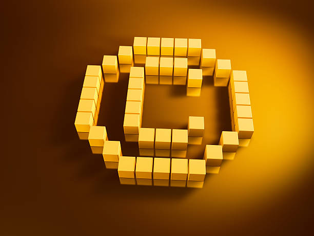 Copyright Symbol Golden Cubes 3D Render of a Copyright symbol with pixelated blue cubes. Very high resolution available! Use it for Your own composings!Related images: golden cube stock pictures, royalty-free photos & images