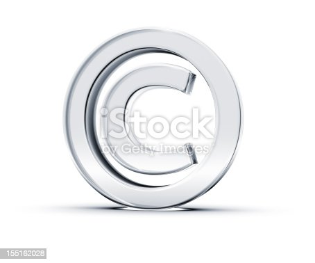 3D rendering of Copyright Symbol made of transparent glass with Shades and Shadow isolated on white background.