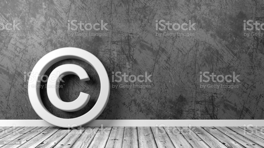 Copyright Symbol on Floor with Copy Space stock photo