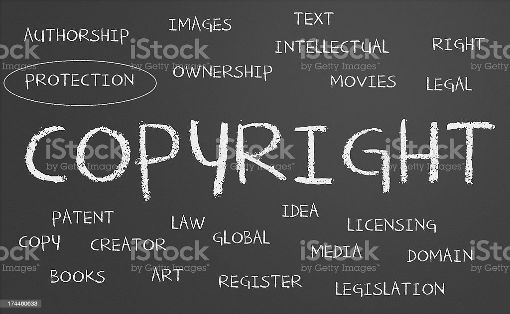 Copyright word cloud royalty-free stock photo
