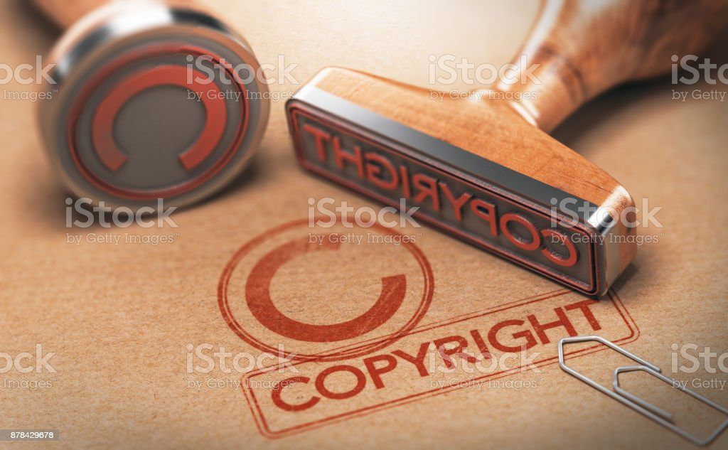 Copyrighted Material, Intellectual Property Copyright stock photo