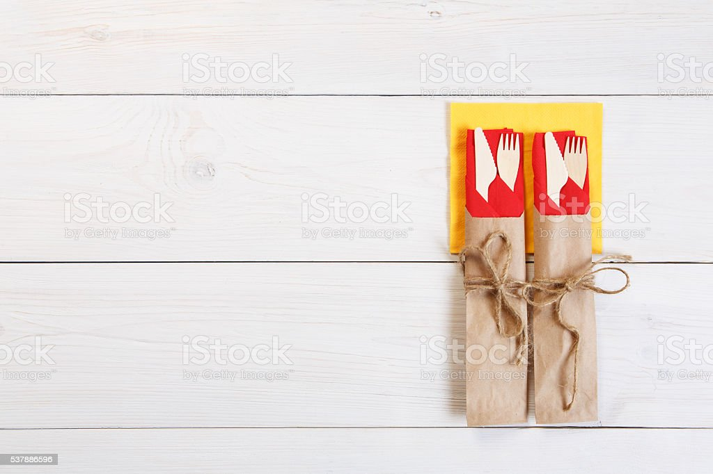 Copyspace at white wooden background for menu or recipe stock photo