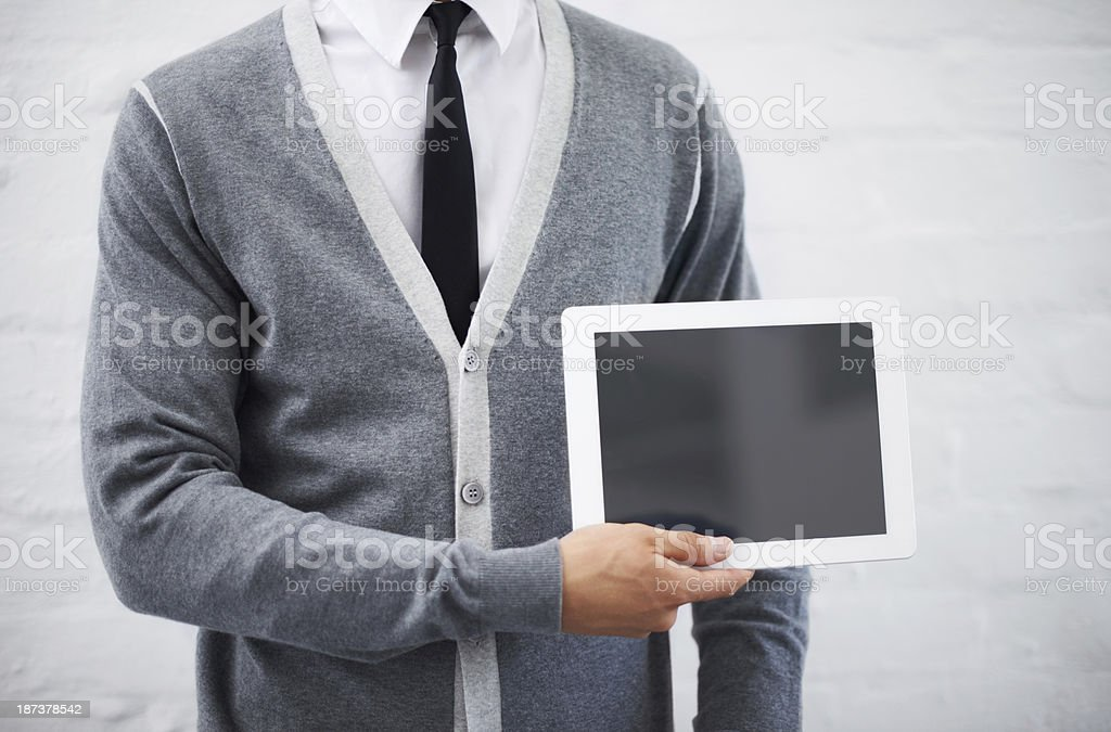 Copyspace on his tablet stock photo