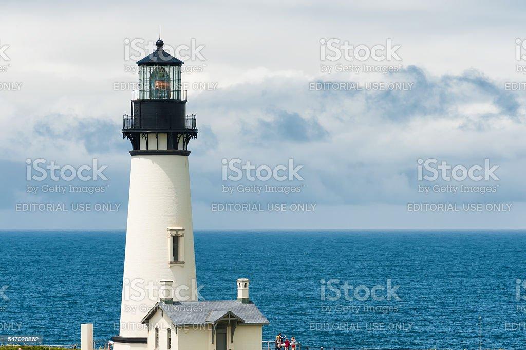 Copyspace Yaquina Head Lighthouse, Newport, Oregon stock photo