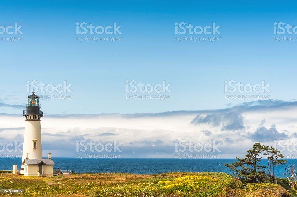 Copyspaqce of Yaquina Head Lighthouse and Horizon stock photo