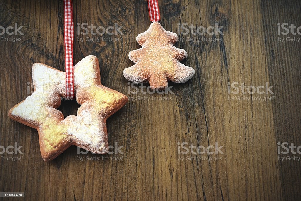 Copyspcae and Christmas decoration cookies on table royalty-free stock photo