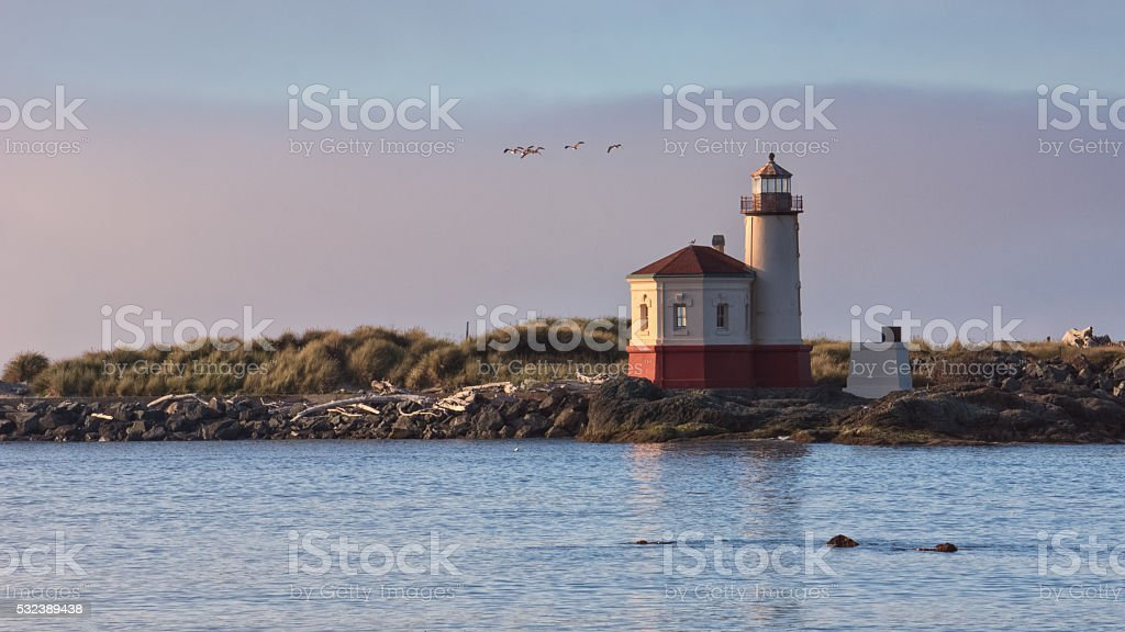 Coquille River Lighthouse, Bandon, Oregon stock photo