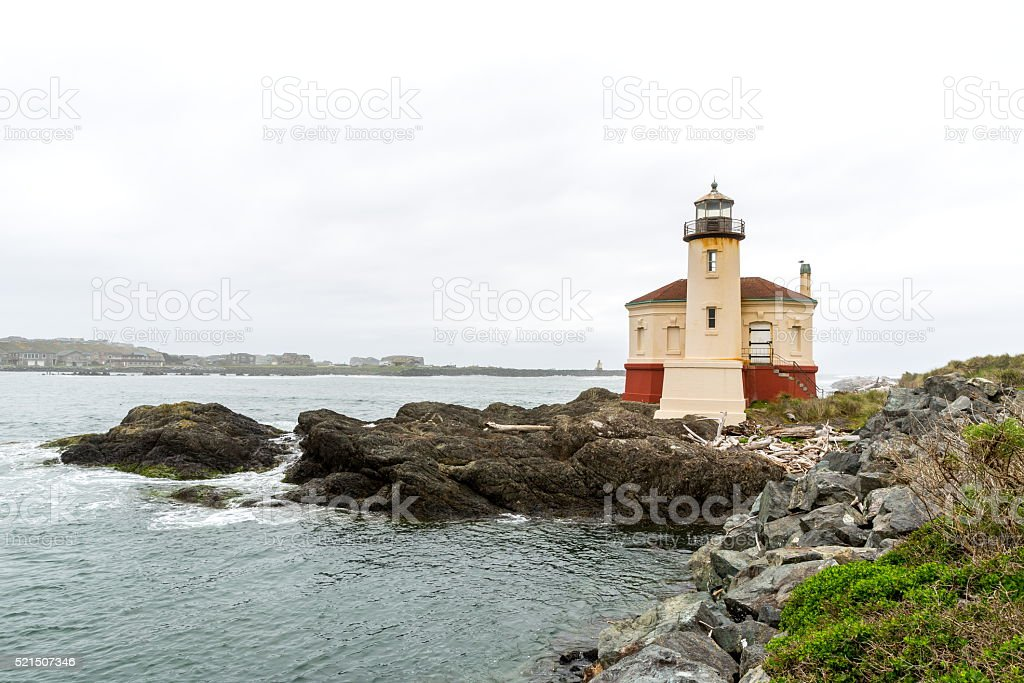 Coquille River Lighthouse,OR stock photo