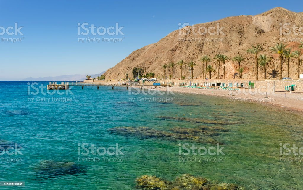 Coral beach in Eilat stock photo