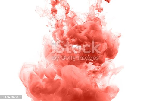 578561164 istock photo Coral ink splashes abstract background 1149457721