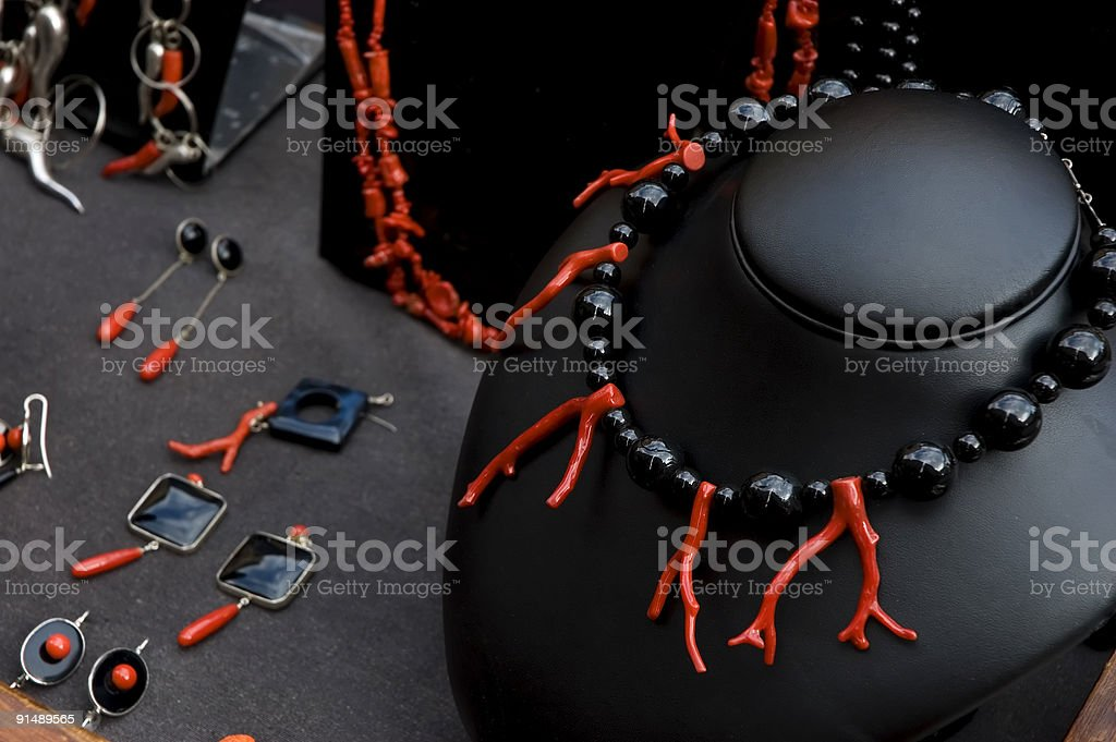Coral jewels in a jewellery royalty-free stock photo