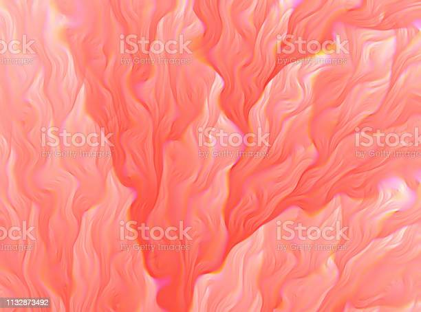Photo of Coral Living Fractal Abstract Background Prism Glitch Effect Color of the Year 2019 Fractal Floral Pattern