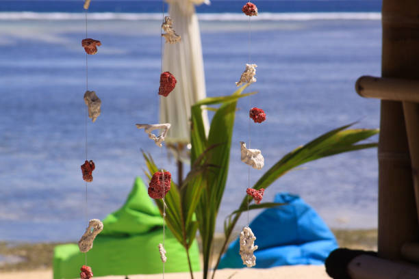 Coral pieces hanging on wire at tropical beach bar stock photo