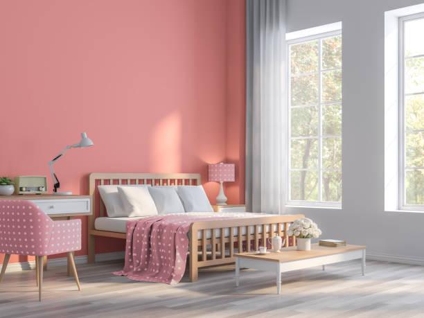 coral pink schlafzimmer mit natur ansicht 3d render - hellrosa zimmer stock-fotos und bilder