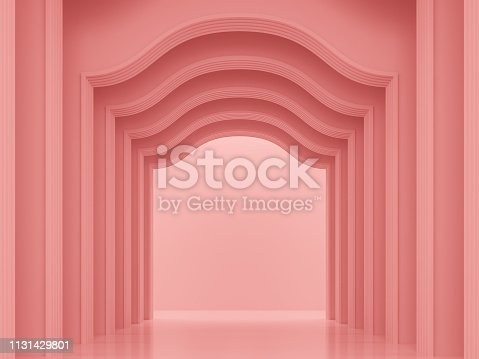 istock Coral pink classical interior space 3d render 1131429801