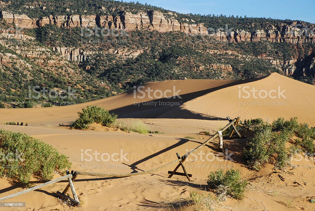 Coral Pink Sand Dunes State Park at sunset time Utah stock photo