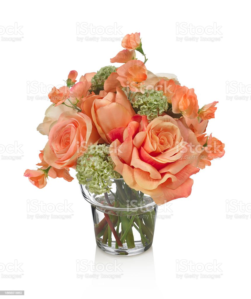 Coral roses and sweet pea bouquet on white background royalty-free stock photo