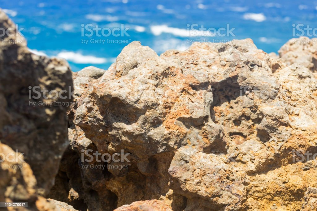 Coral stones and ocean background stock photo