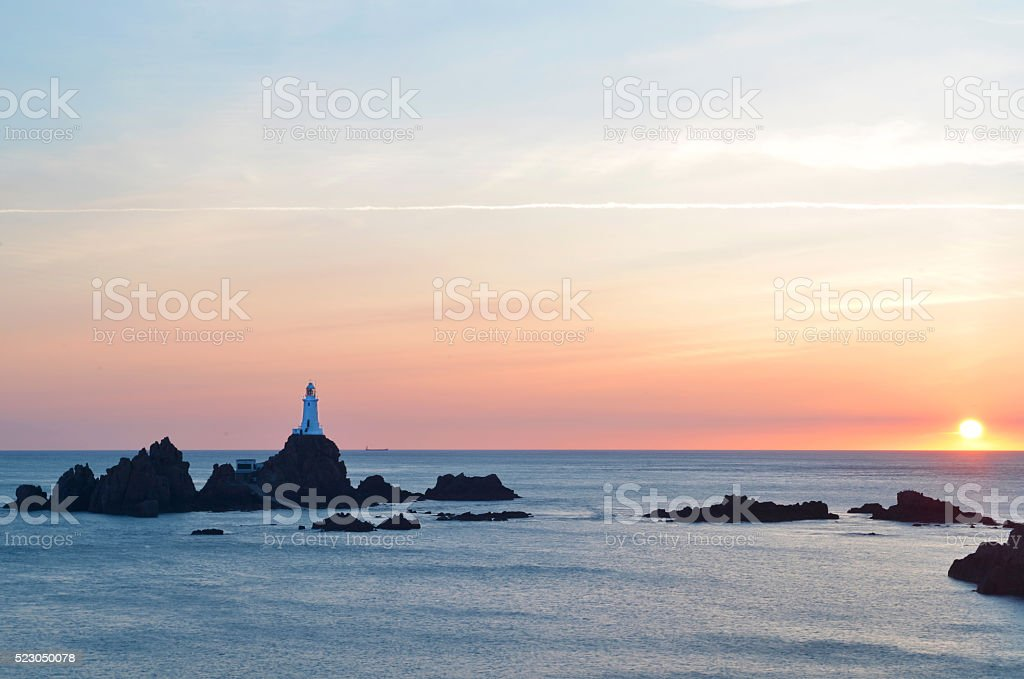 Corbiere Lighthouse at Sunset stock photo